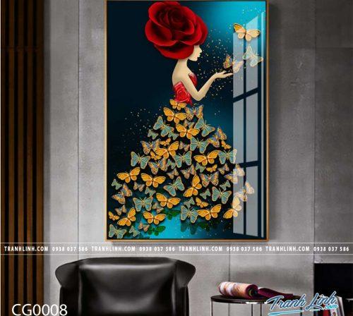Bo tranh Canvas treo tuong trang tri phong khach co gai CG0008