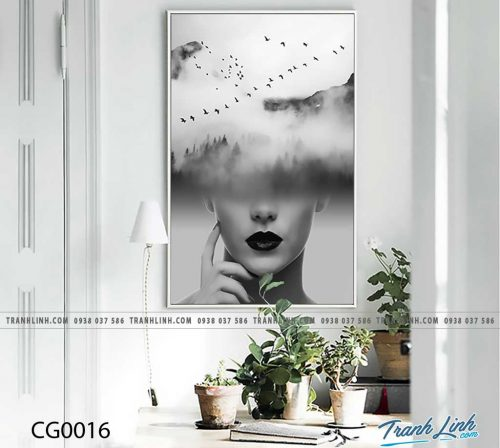 Bo tranh Canvas treo tuong trang tri phong khach co gai CG0016