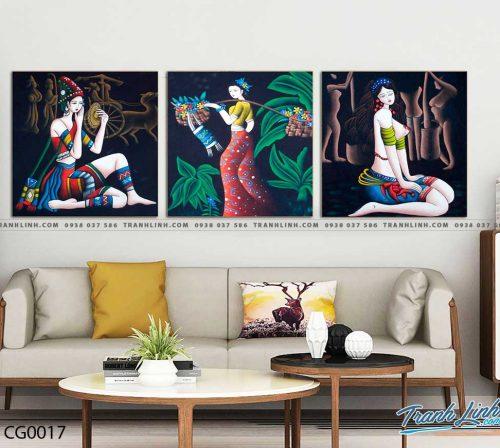 Bo tranh Canvas treo tuong trang tri phong khach co gai CG0017