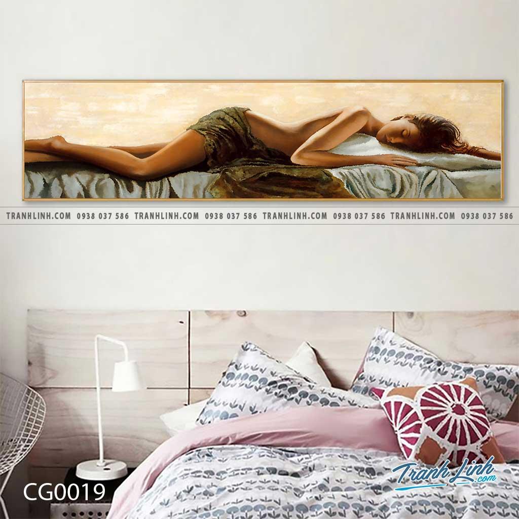 Bo tranh Canvas treo tuong trang tri phong khach co gai CG0019