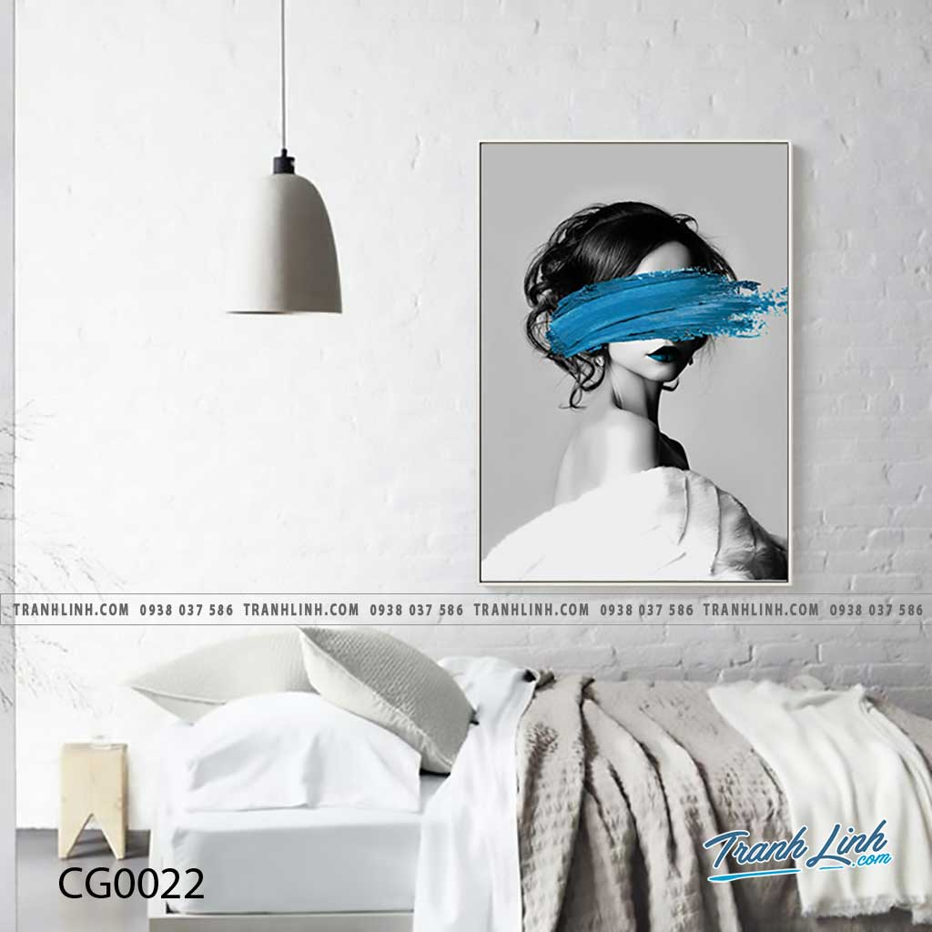 Bo tranh Canvas treo tuong trang tri phong khach co gai CG0022