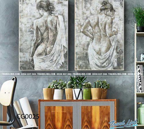 Bo tranh Canvas treo tuong trang tri phong khach co gai CG0025