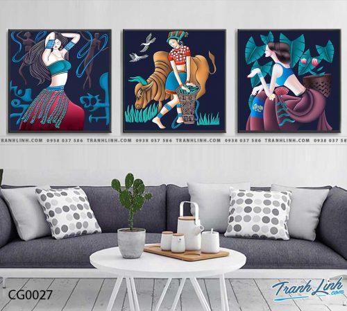 Bo tranh Canvas treo tuong trang tri phong khach co gai CG0027