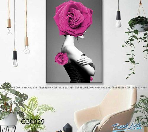 Bo tranh Canvas treo tuong trang tri phong khach co gai CG0029