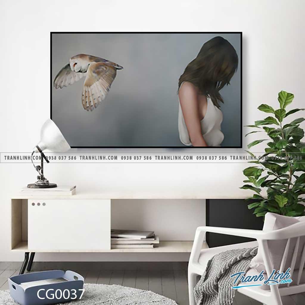 Bo tranh Canvas treo tuong trang tri phong khach co gai CG0037