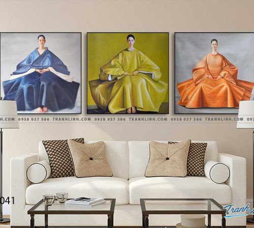 Bo tranh Canvas treo tuong trang tri phong khach co gai CG0041