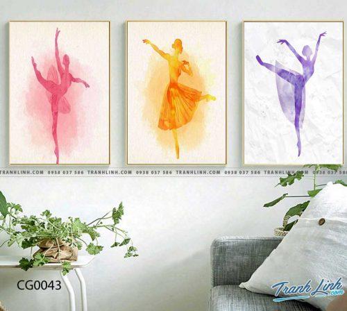 Bo tranh Canvas treo tuong trang tri phong khach co gai CG0043