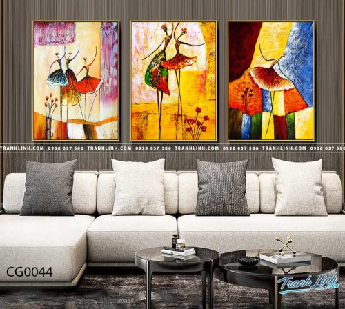 Bo tranh Canvas treo tuong trang tri phong khach co gai CG0044