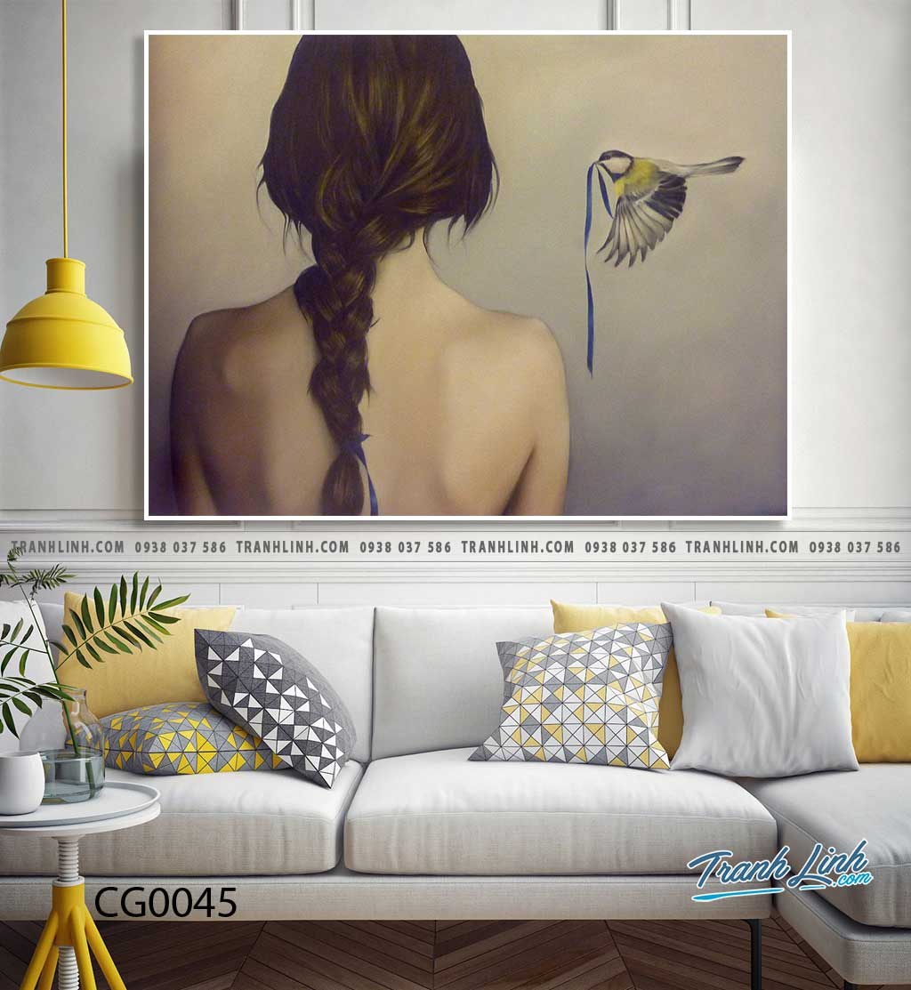 Bo tranh Canvas treo tuong trang tri phong khach co gai CG0045