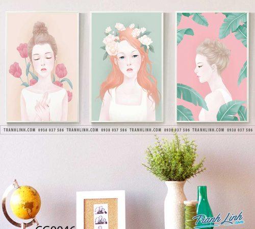 Bo tranh Canvas treo tuong trang tri phong khach co gai CG0046