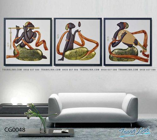 Bo tranh Canvas treo tuong trang tri phong khach co gai CG0048