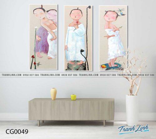 Bo tranh Canvas treo tuong trang tri phong khach co gai CG0049