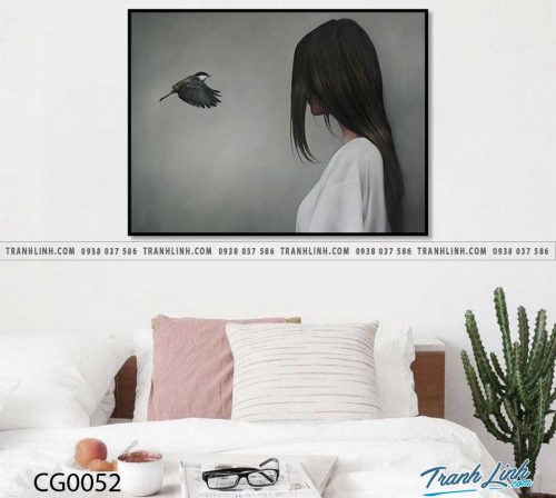 Bo tranh Canvas treo tuong trang tri phong khach co gai CG0052