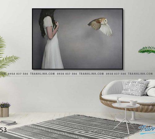 Bo tranh Canvas treo tuong trang tri phong khach co gai CG0053