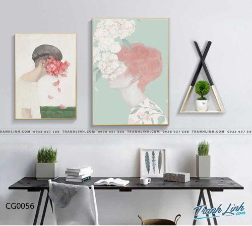 Bo tranh Canvas treo tuong trang tri phong khach co gai CG0056
