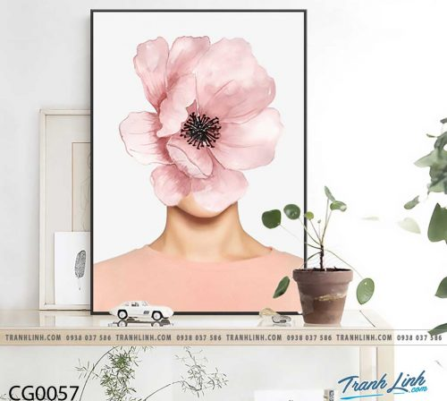 Bo tranh Canvas treo tuong trang tri phong khach co gai CG0057