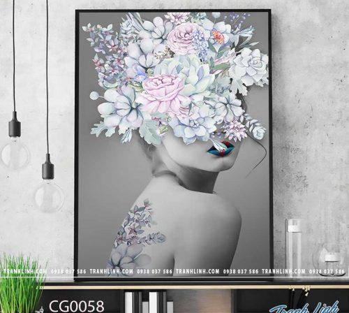 Bo tranh Canvas treo tuong trang tri phong khach co gai CG0058