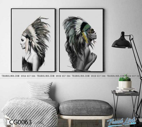 Bo tranh Canvas treo tuong trang tri phong khach co gai CG0063