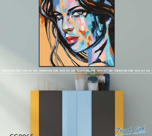 Bo tranh Canvas treo tuong trang tri phong khach co gai CG0065