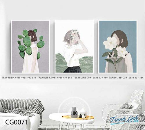 Bo tranh Canvas treo tuong trang tri phong khach co gai CG0071