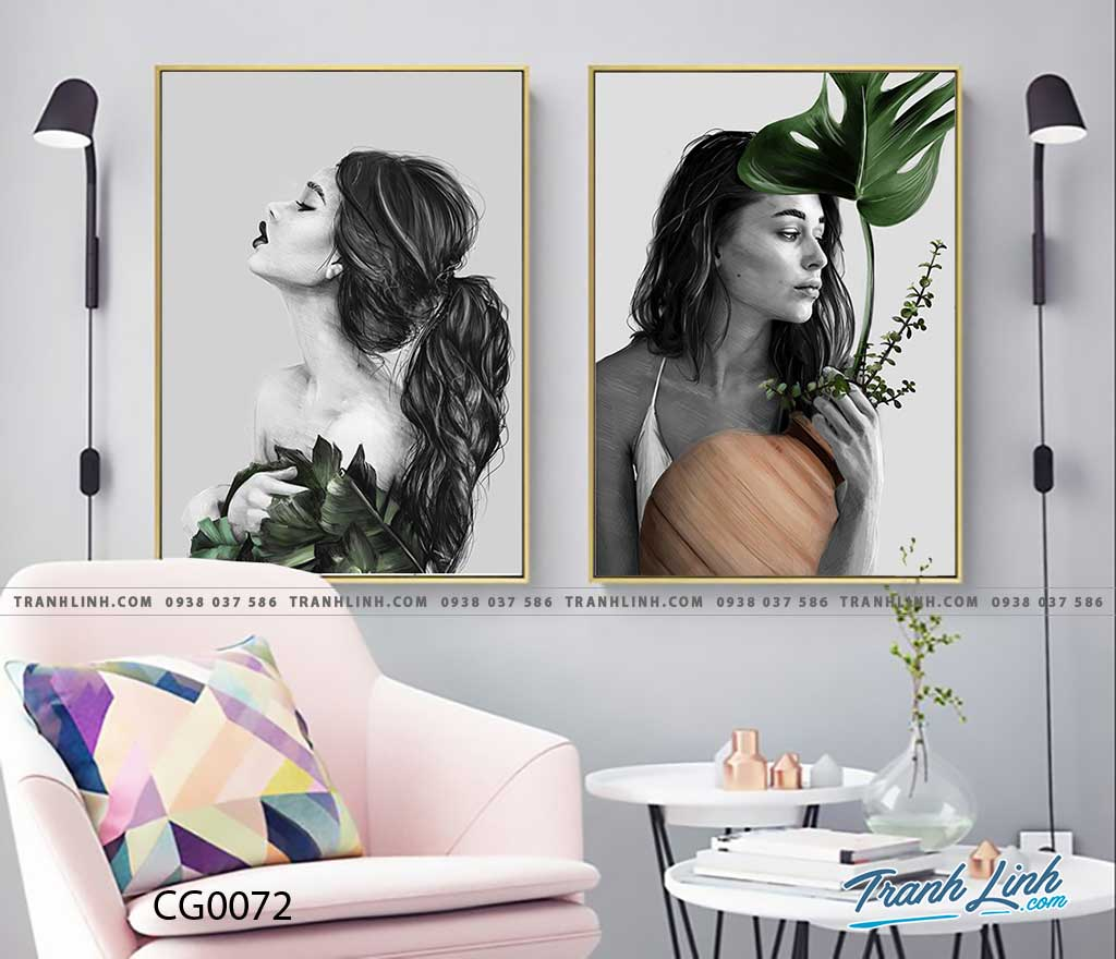 Bo tranh Canvas treo tuong trang tri phong khach co gai CG0072