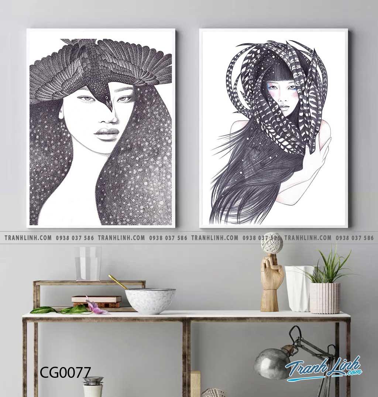 Bo tranh Canvas treo tuong trang tri phong khach co gai CG0077