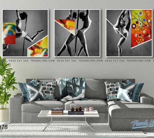 Bo tranh Canvas treo tuong trang tri phong khach co gai CG0078