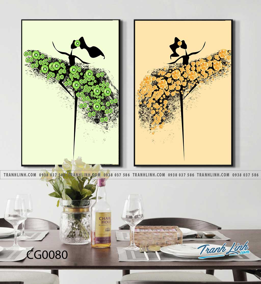 Bo tranh Canvas treo tuong trang tri phong khach co gai CG0080