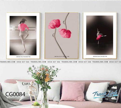 Bo tranh Canvas treo tuong trang tri phong khach co gai CG0084