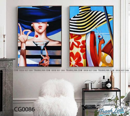 Bo tranh Canvas treo tuong trang tri phong khach co gai CG0086