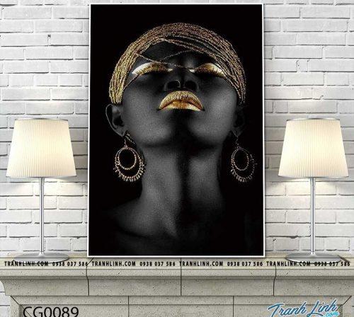 Bo tranh Canvas treo tuong trang tri phong khach co gai CG0089
