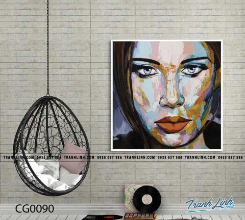 Bo tranh Canvas treo tuong trang tri phong khach co gai CG0090