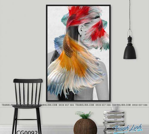 Bo tranh Canvas treo tuong trang tri phong khach co gai CG0092