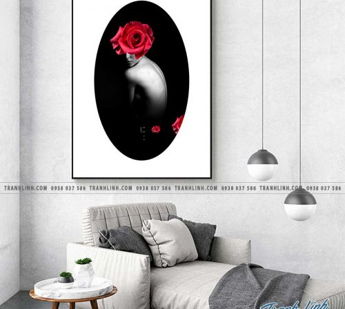 Bo tranh Canvas treo tuong trang tri phong khach co gai CG0093