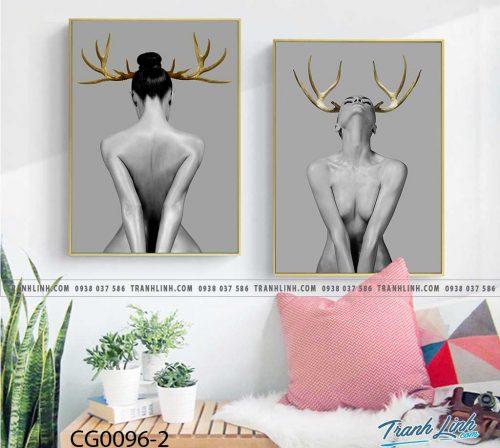 Bo tranh Canvas treo tuong trang tri phong khach co gai CG0096 1
