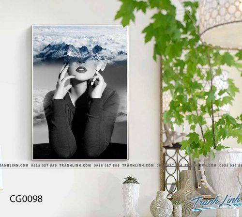 Bo tranh Canvas treo tuong trang tri phong khach co gai CG0098