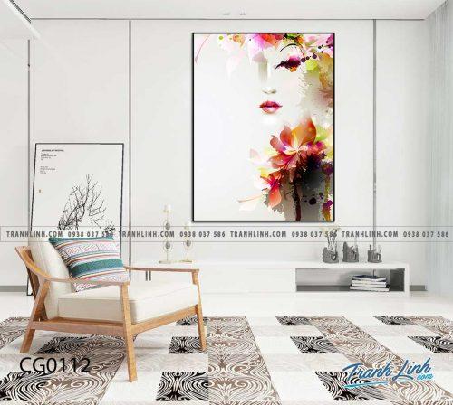 Bo tranh Canvas treo tuong trang tri phong khach co gai CG0112