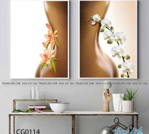 Bo tranh Canvas treo tuong trang tri phong khach co gai CG0114