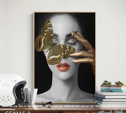 Bo tranh Canvas treo tuong trang tri phong khach co gai CG0115 1