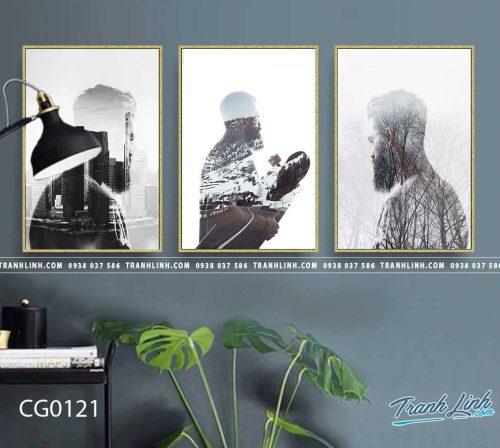 Bo tranh Canvas treo tuong trang tri phong khach co gai CG0121