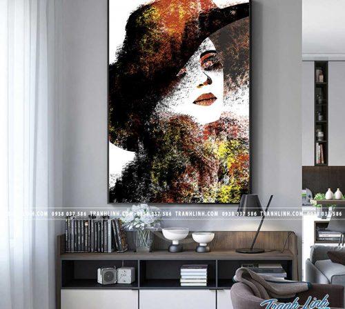 Bo tranh Canvas treo tuong trang tri phong khach co gai CG0123