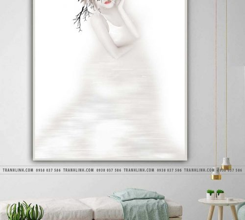 Bo tranh Canvas treo tuong trang tri phong khach co gai CG0130