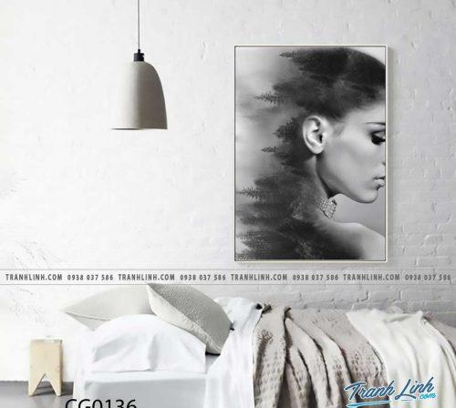 Bo tranh Canvas treo tuong trang tri phong khach co gai CG0136