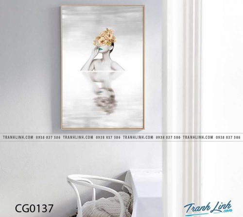 Bo tranh Canvas treo tuong trang tri phong khach co gai CG0137