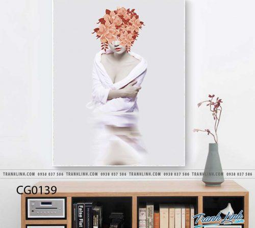 Bo tranh Canvas treo tuong trang tri phong khach co gai CG0139