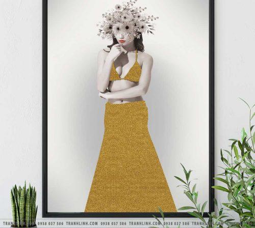 Bo tranh Canvas treo tuong trang tri phong khach co gai CG0142
