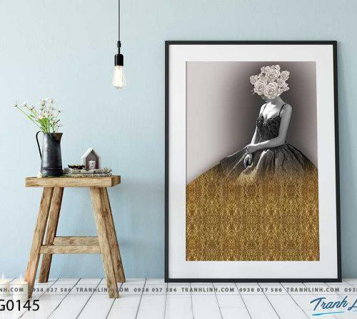 Bo tranh Canvas treo tuong trang tri phong khach co gai CG0145