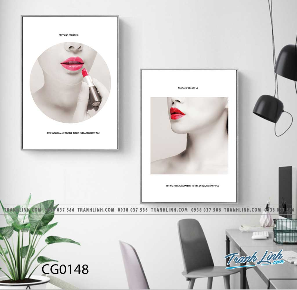 Bo tranh Canvas treo tuong trang tri phong khach co gai CG0148