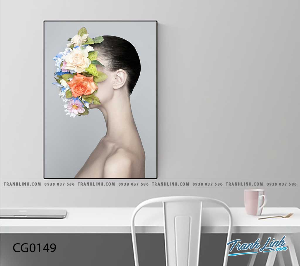 Bo tranh Canvas treo tuong trang tri phong khach co gai CG0149