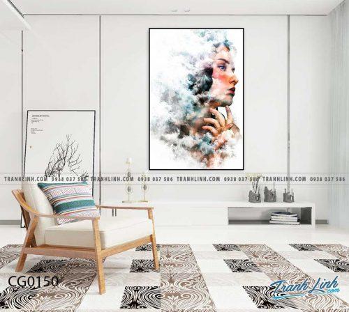 Bo tranh Canvas treo tuong trang tri phong khach co gai CG0150